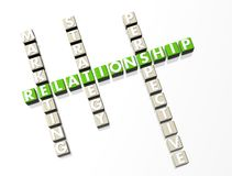 Relationship Crossword. Green text on white background Royalty Free Stock Photography