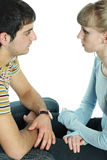 Relationship difficulties. Young couple having a fight stock images