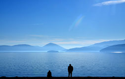 Relationship difficulties,lake prespa, macedonia Stock Photos