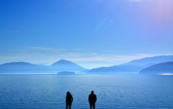 Relationship difficulties,lake prespa, macedonia. Picture of a couple having relationship difficulties,lake prespa, macedonia Stock Image