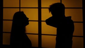 Relationship difficulties. Silhouette. Close up stock video