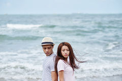 Relationship difficulties. Vietnamese young couple having difficulties in relationship stock photography