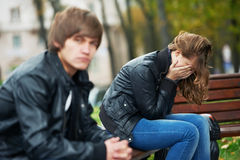 Relationship difficulties of young people couple. Problem depression relationship difficulties of young couple people in outdoors Stock Images