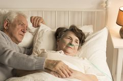 Elderly man supporting dying wife. Relationship between elderly men and his dying wife at home Stock Image