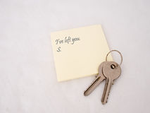 Relationship ends. Breakup, divorce concept. Keys left with brief note stock photos