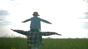 Relationship father and son, little boy sits on shoulders dad and play airplane on rapeseed field on background sky. In slow motion stock video footage