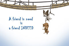Relationship of friends. A friend in need is a friend indeed Royalty Free Stock Photography