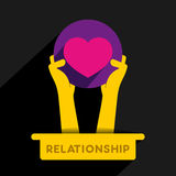Relationship icon design. Relationship or heart icon design concept hold in hand vector Stock Image