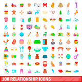 100 relationship icons set, cartoon style Royalty Free Stock Image