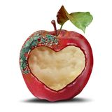 Relationship Loss Symbol. Relationship loss as a breakup and separation psychological mood metaphor as a rotting apple with a heart in a 3D illustration style Stock Image