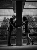Relationship, man and woman, urban theme. Relationship, differences between men and woman, urban theme, black and white image stock photos