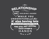 Relationship is not just holding hands while you understand each other, it`s also having lots misunderstandings. And still not leaving each other`s hands stock illustration