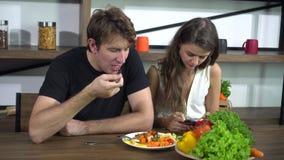 Relationship problem Ignorance girlfriend addict to social media caucasian couple. 4k stock footage