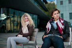 Relationship problems - couple outdoor Stock Image