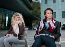 Relationship problems - couple outdoor Royalty Free Stock Image