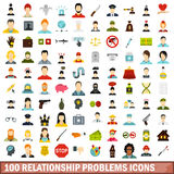 100 relationship problems icons set, flat style Stock Images