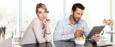 Relationship problems, woman disappointed, man indifference, Royalty Free Stock Images