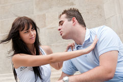 Relationship problems - young couple outdoors Royalty Free Stock Photo