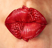 Relationship Psychology. Concept with female lips shaped as human heads with a brain texture as a mental health care symbol for couples therapy and romantic Stock Images