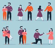 Relationship stages from dating to engagement stock illustration
