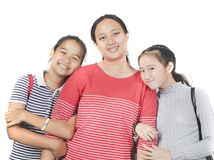 relationship of three cheerful asian teenager toothy smiling face happiness emotion on white background royalty free stock photos