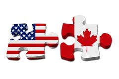 Relationship between the USA and Canada. Two puzzle pieces with the flags of USA and Canada isolated over white Stock Photography