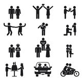 Relationship and wedding people icon set. Showing a couple dating in love dancing proposal wedding kissing cutting the cake in a car on honeymoon and riding a royalty free illustration