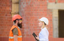 Relationships construction client and participant building industry. Discuss progress plan. Construction industry stock images
