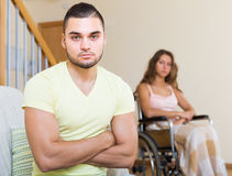 Relationships difficulties in wheelchair Royalty Free Stock Photography