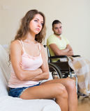 Relationships difficulties in wheelchair Royalty Free Stock Photo