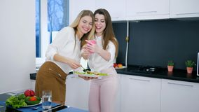 Relationships of girlfriends during dinner with mobile phone in hands indoors. Near window stock footage