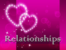 Relationships Word Represents Find Love And Affection. Relationships Word Showing Find Love And Romance Royalty Free Stock Photo