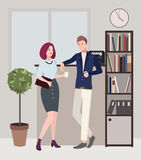 Relationships at work. coffee break. woman and man are flirting. Colorful flat illustration. Royalty Free Stock Photography