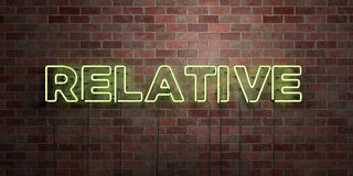 RELATIVE - fluorescent Neon tube Sign on brickwork - Front view - 3D rendered royalty free stock picture Stock Photos