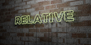 RELATIVE - Glowing Neon Sign on stonework wall - 3D rendered royalty free stock illustration Stock Photos