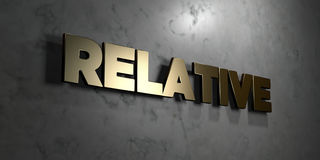 Relative - Gold sign mounted on glossy marble wall  - 3D rendered royalty free stock illustration Royalty Free Stock Photo