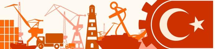 Relative Ikonen des Frachthafens eingestellt Die Türkei-Flagge im Gang Stockfoto