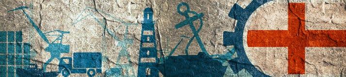 Relative Ikonen des Frachthafens eingestellt Genua-Flagge im Gang Lizenzfreie Stockfotografie