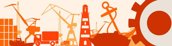 Relative Ikonen des Frachthafens eingestellt Japan-Flagge im Gang Lizenzfreies Stockfoto