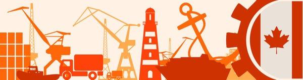 Relative Ikonen des Frachthafens eingestellt Kanada-Flagge im Gang Lizenzfreie Stockbilder