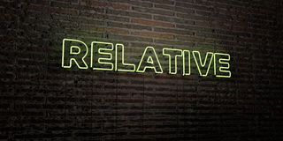 RELATIVE -Realistic Neon Sign on Brick Wall background - 3D rendered royalty free stock image Royalty Free Stock Photos