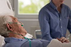 Relative visits elderly hospitalized man. View of elder sick men being visited by his realtive Stock Photo