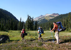 Relatives Hiking in Callaghan Valley. Backpackers in Callaghan Valley near Conflict Lake. Mount Callaghan. British Columbia. Canada Stock Photography