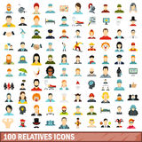 100 relatives icons set, flat style. 100 relatives icons set in flat style for any design vector illustration Royalty Free Stock Images