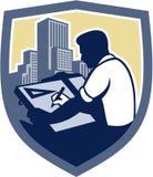 Relator Drawing Shield Retro do arquiteto Foto de Stock Royalty Free