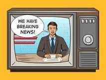 Relatore di notizie sul vettore di stile di Pop art della TV Fotografia Stock Libera da Diritti