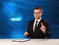 Relatore moderno del televison che dice le notizie con il backg di tehnology Fotografie Stock Libere da Diritti