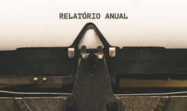 Relatorio Anual, Portuguese text for Annual Report on vintage ty Stock Images