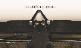 Relatorio rocznik, Portugalski tekst dla sprawozdania rocznego na roczniku ty Obrazy Stock
