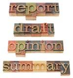 Relatório, esboço, opinião e sumário Imagens de Stock